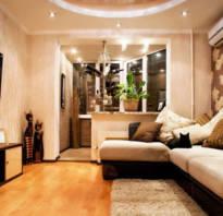 Устройство гостиной совмещенной с балконом и лоджией