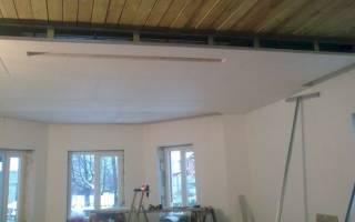 Отделка потолка в доме гипсокартоном