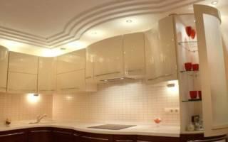 Двухуровневые потолки из гипсокартона на кухне