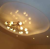 Потолок гипсокартон и натяжной с подсветкой